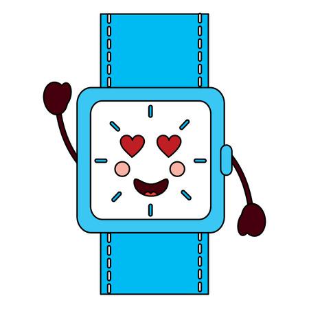 horloge met hart ogen kawaii pictogram afbeelding vector illustratie ontwerp Stock Illustratie