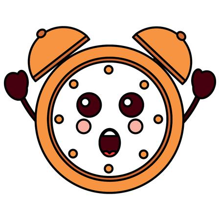 A suprised alarm clock icon vector illustration design