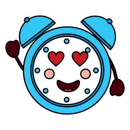 Alarm clock with heart eyes image vector illustration design