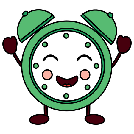 happy clock kawaii icon image vector illustration design