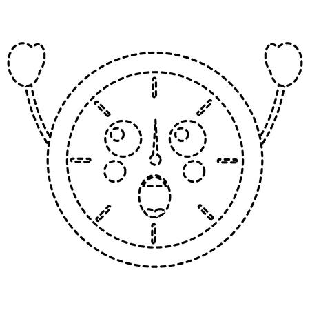 verrast klok kawaii pictogram afbeelding vector illustratie ontwerp zwarte stippellijn Stock Illustratie