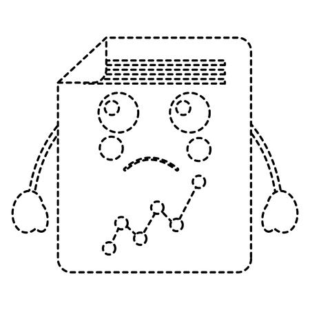 Sad graph chart image vector illustration design in black dotted lines.  イラスト・ベクター素材