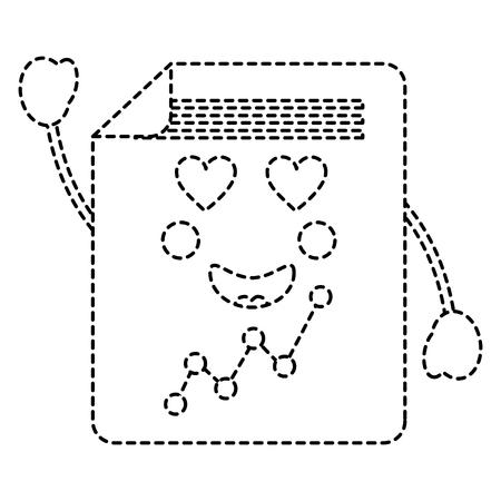 graph chart heart eyes  icon image vector illustration design black dotted line Illustration