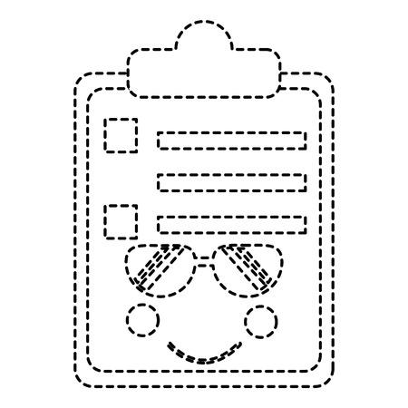 paper sunglasses clipboard character cartoon vector illustration sticker design Stok Fotoğraf