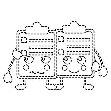 Kawaii twee klembord de stickerontwerp van de bedrijfsdocumentbeeldverhaal vectorillustratie