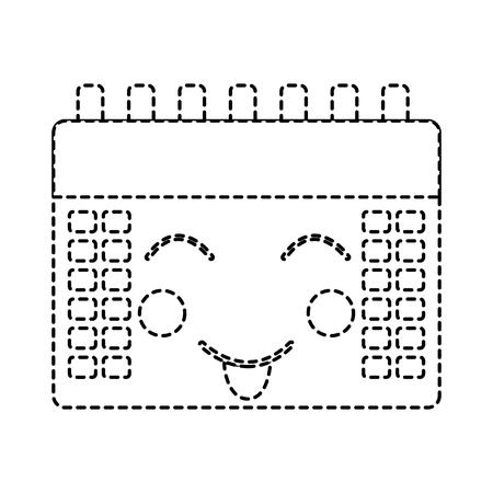 Calendar event cute kawaii cartoon vector illustration sticker design Ilustração