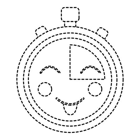 Kawaii chronometer speed timer cartoon character vector illustration sticker design