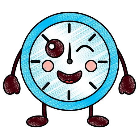 해피 시계 가와이 아이콘 이미지 벡터 일러스트 디자인