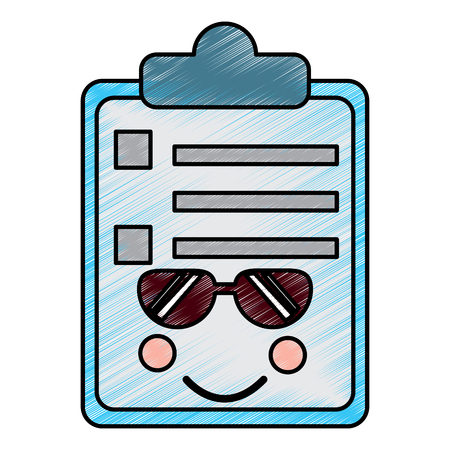 Clipboard with sunglasses kawaii icon image vector illustration design