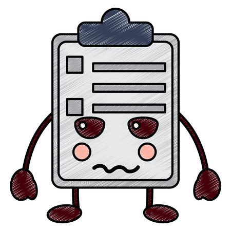 Angry clipboard kawaii icon image vector illustration design