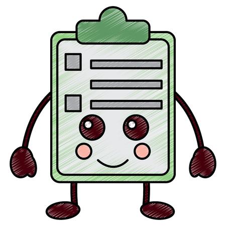 Happy clipboard kawaii icon image vector illustration design Çizim