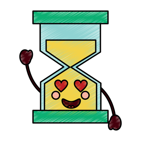 hourglass heart eyes icon image vector illustration design