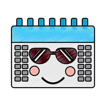 kalender met zonnebril pictogram afbeelding vector illustratie ontwerp