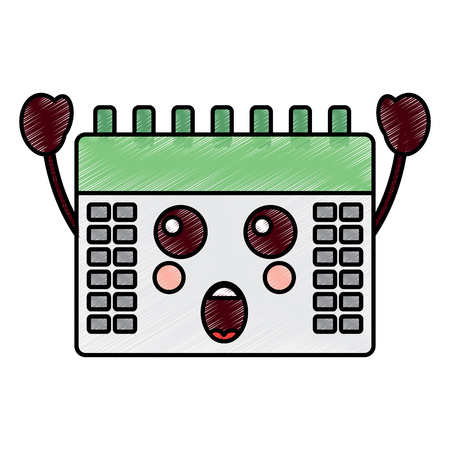 surprised calendar  icon image vector illustration design