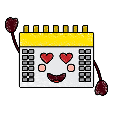 calendar with heart eyes icon image vector illustration design Illustration