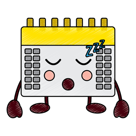 calendar sleeping icon image vector illustration design