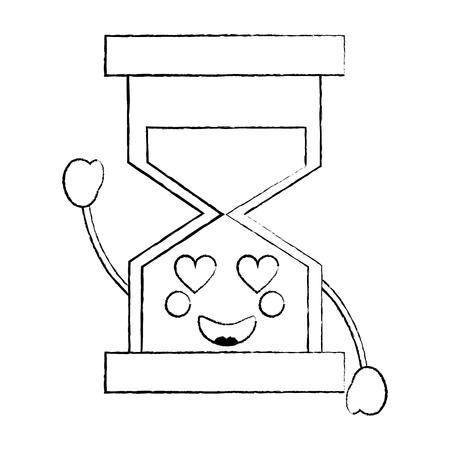 zandloper hart ogen pictogram afbeelding vector illustratie ontwerp zwarte schets lijn
