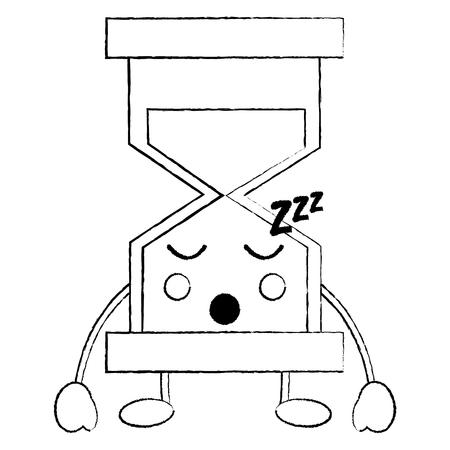 모래 시계 잠자는 아이콘 이미지 벡터 일러스트 레이 션 디자인 검은 스케치 라인
