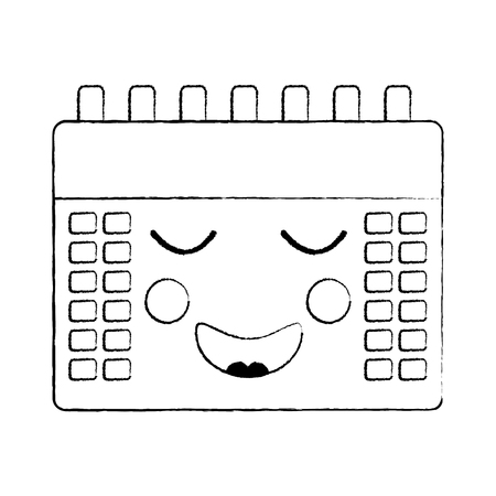 happy calendar icon image vector illustration design black sketch line Illustration