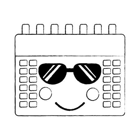 calendar with sunglasses  icon image vector illustration design black sketch line