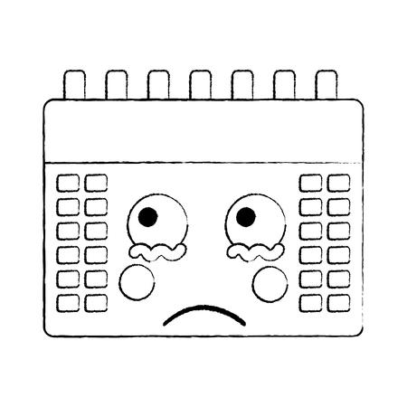Sad calendar kawaii icon image vector illustration design black sketch line Illustration