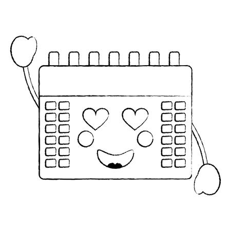 calendar with heart eyes  icon image vector illustration design black sketch line