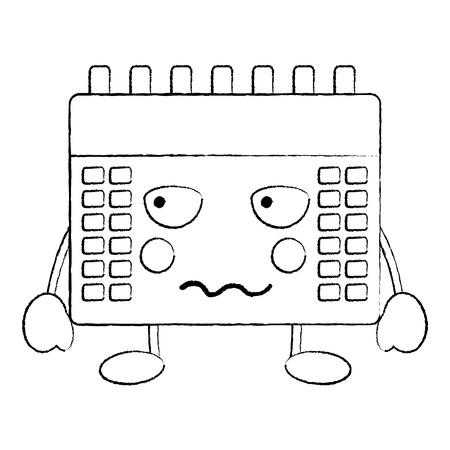 angry calendar  icon image vector illustration design black sketch line