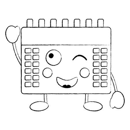 gelukkig kalender pictogram afbeelding vector illustratie ontwerp zwarte schets lijn