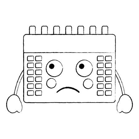 sad calendar  icon image vector illustration design black sketch line