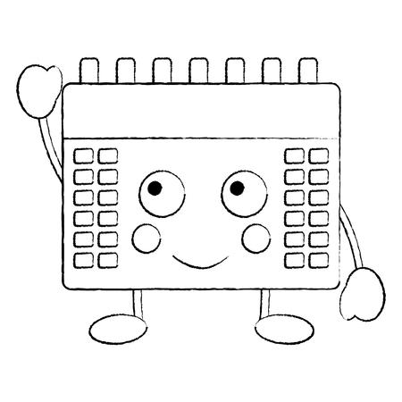 happy calendar  icon image vector illustration design black sketch line Illustration