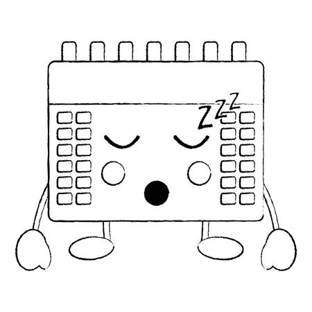 calendar sleeping  icon image vector illustration design black sketch line
