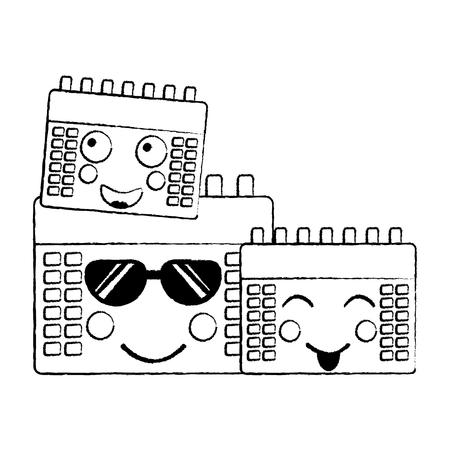 kalenders pictogram afbeelding vector illustratie ontwerp zwarte schets lijn