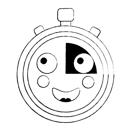 happy chronometer icon image vector illustration design black sketch line