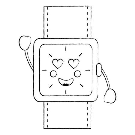 horloge met hart ogen pictogram afbeelding vector illustratie ontwerp zwarte schets lijn