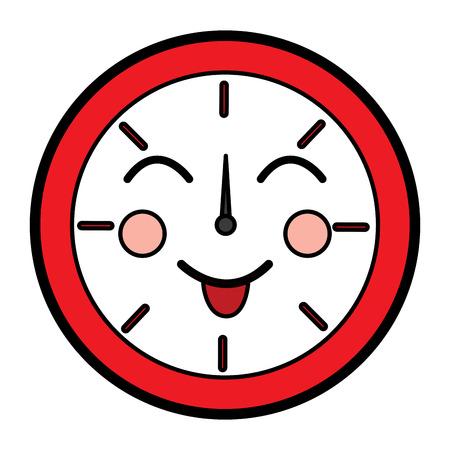 Happy clock kawaii icon image vector illustration design