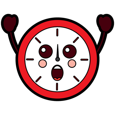 Suprised clock kawaii icon image vector illustration design Illustration