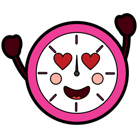clock heart eyes   icon image vector illustration design