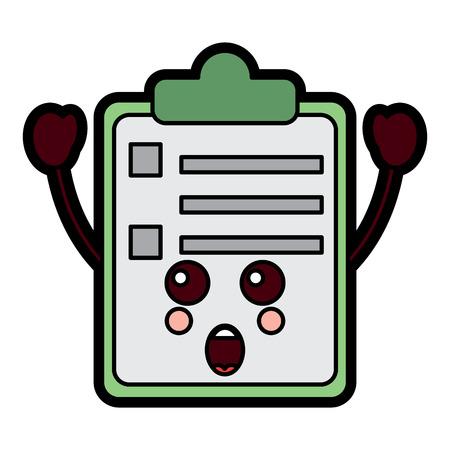paper surprise clipboard  character cartoon vector illustration Çizim