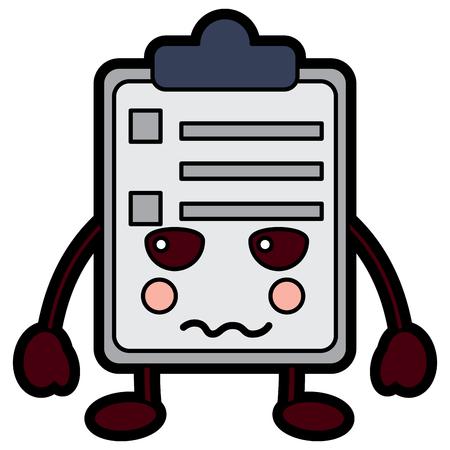 paper sad clipboard  character cartoon vector illustration