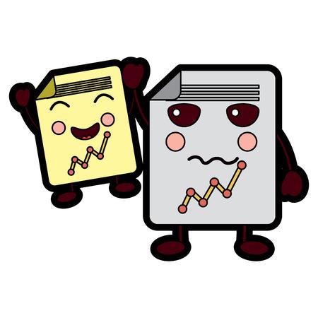 cartoon twee document papier grafiek kawaii karakter vector illustratie