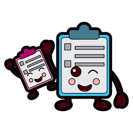 A kawaii two clipboard business document cartoon vector illustration