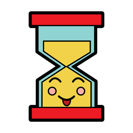 A hourglass time tongue out kawaii character vector illustration