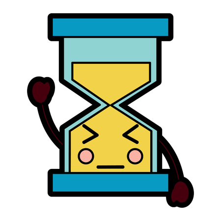 A hourglass time close eyes kawaii character vector illustration