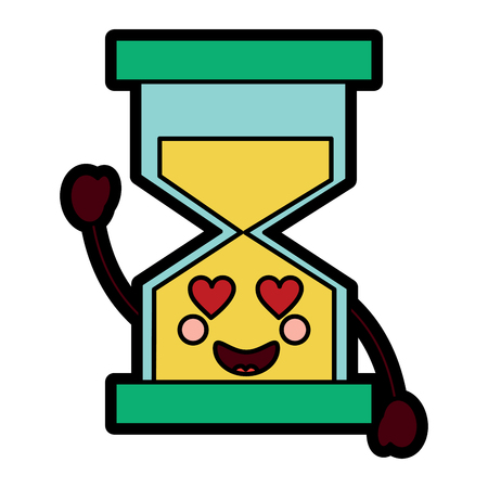 A hourglass time love kawaii character vector illustration