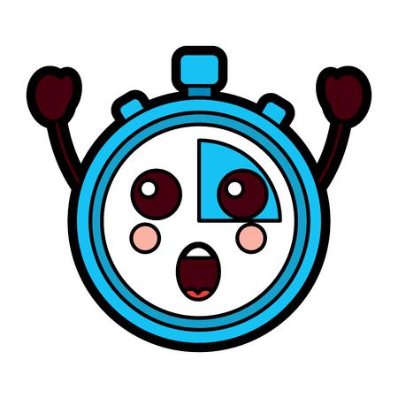 chronometer speed timer cartoon character vector illustration