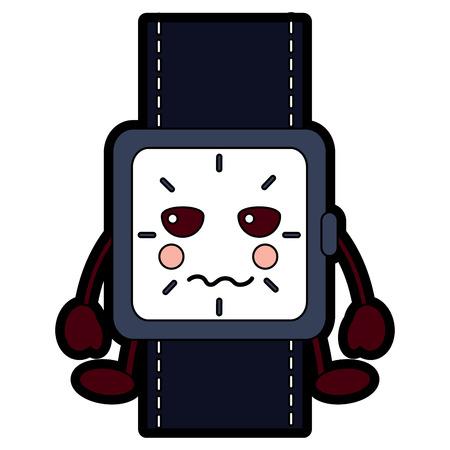 kawaii wrist watch bracelet square cartoon vector illustration