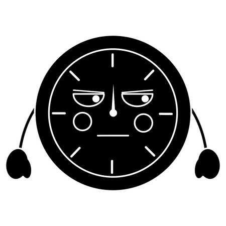 angry clock kawaii icon image vector illustration design  black and white 向量圖像