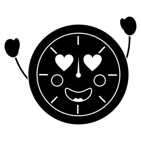 clock heart eyes icon image vector illustration design black and white