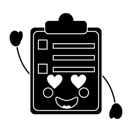 clipboard heart eyes  kawaii icon image vector illustration design  black and white