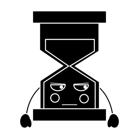 angry hourglass kawaii icon image vector illustration design   black and white